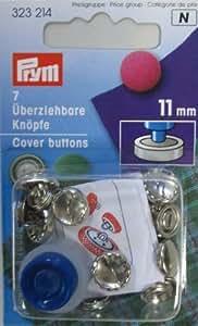 Prym - Bottoni da ricoprire, 7 pezzi, 11mm, colore argento