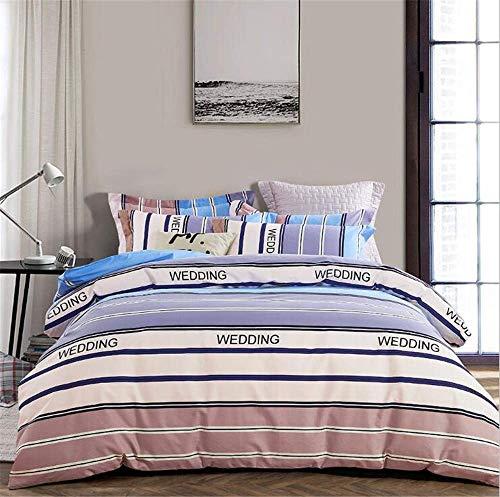 Giow Streifen Bettwäsche Bettbezug Set König, 3 Stück Dekorative Baumwolle Bettwäsche Set mit Reißverschluss, 1 Bettbezug + 2 Kissenbezug - König 3 Stück Bettbezug
