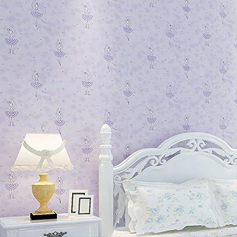 BTJC Bailarina de fondo de papel pintado no tejido moderno historieta infantil princesa sala dormitorio empapelado , elegant purple 27003