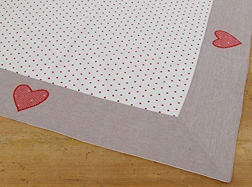 Matches21 - Mantel de Mesa rústico ROSI, Color Blanco, Puntos Rojos, Cenefa Gris, 100 x 100 cm, 1 Unidad...