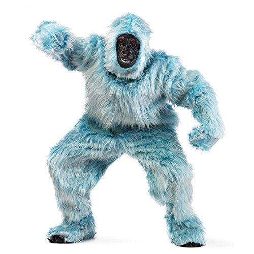 Limit Sport Kostüm Jeti Eisblau Plüsch-Overall Gorilla Tierkostüm Affe Hellblau Karneval Fasching (XL)