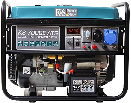 Könner & Söhnen KS 7000E ATS Stromerzeuger, 13 PS 4-Takt Benzinmotor, E-Start, Notstromautomatik, 1x16A, 1x32A (230V) Generator, Automatischer Spannungsregler, Anzeige, für Haus, Garage, Werkstatt