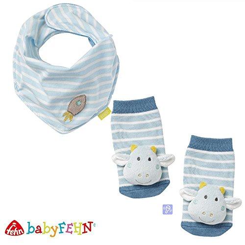 Baby Fehn Baby-Halstuch & Rasselsöckchen//2er Set//Little Castle//Lebhafte Farben und Materialien//