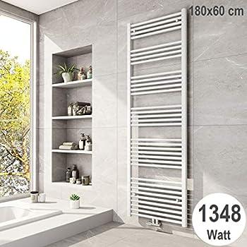 597 Watt Bad Heizk/örper Heizung Handtuch Wei/ß Handtuchheizk/örper Badheizk/örper 120 x 40 cm