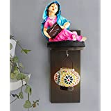 TiedRibbons Rajasthani Women Figurine And Hanging Tealight Holder With Wall Hanging Hanging Tea Light Holders Wall Drawing Room Living Room Office Bed Room Interior Home Decor