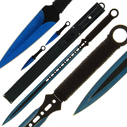 3-teiliges G8DS® Macheten- und Wurfmesser-Set BLUE Outdoor Camping