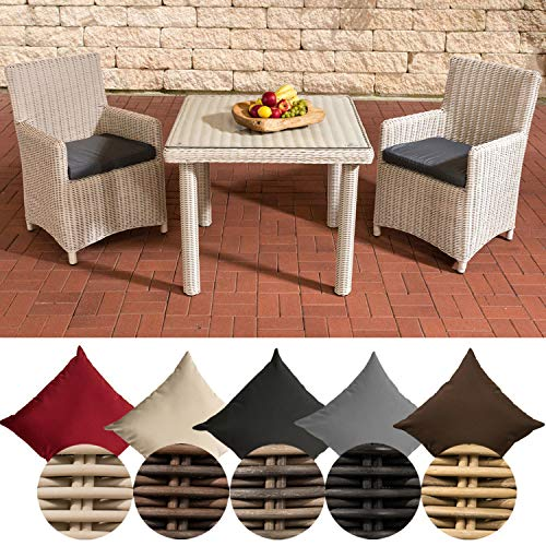 CLP Polyrattan Sitzgruppe Dorado, Tisch mit Klarglas Tischplatte 100x100 cm, inkl. Sitzpolster, bis zu 25 Farbkombinationen wählbar Rattanfarbe: Perlweiß, Bezugsfarbe: Eisengrau