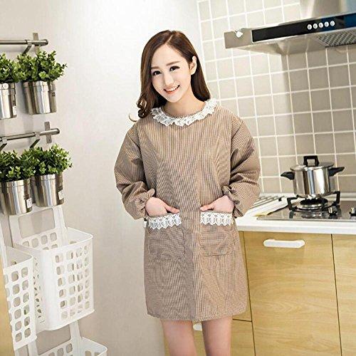 Z@SS-Home Küche Schürze Erwachsene Overalls für Frauen mit Taschen Winter wasserdicht Mode langärmelige Baumwolle Twill Kleider Haushalt Staub Pinafore . coffee color - Baumwoll-twill Overall