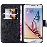 Hochwertige Kunst-Leder-Hülle mit Magnetverschluss für Samsung Galaxy S6 von mangao® Case Handyhüllen
