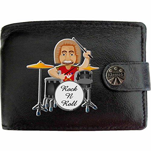 Roll-geldbeutel-handtasche (Old Drummer Rock n Roll Alten Schlagzeuger Musik Schlagzeug Klassek Herren Geldbörse Portemonnaie Brieftasche aus echtem Leder schwarz Geschenk Präsent mit Metall Box)