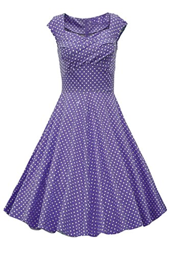 YMING Damen Vintage 50er Polka Dots Retro Rockabilly Cocktail Party Kleider Knielang Sommerkleid,Lila,XS (Dot Fleece Pyjama)