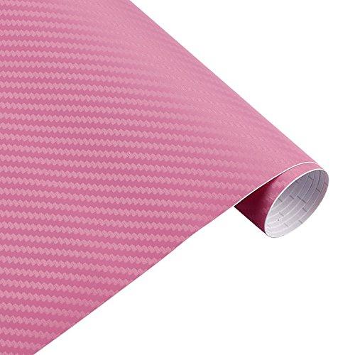 Zantec 30 cm x 127 cm 3D Carbon Fiber Vinyl Auto Twill Wrap Blatt Film Auto Aufkleber, Decals für Motorrad Auto Autos Styling Zubehör Pink (Pink Motorrad-zubehör)