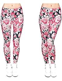M.HWLK Moda Flores Impresión Punk Pantalones elásticos Casual Mujer Pantalones Leggings