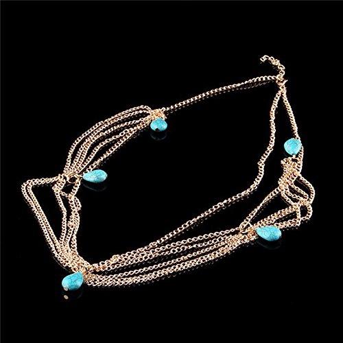 Tranello(TM) Fashion Summer Multi Layer Crystal Women Lady Jewelry Metal Rhinestone Headband Head Chain Hair Band Hair Jewelry