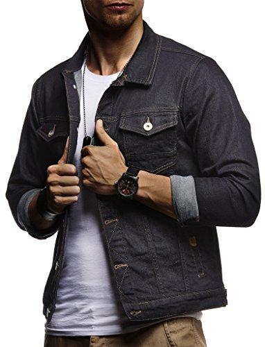 LEIF NELSON Herren Jeansjacke Basic Stretch Jeans Jacke Stehkragen Übergangsjacke Hoodie Sweatjacke Freizeitjacke Kapuzenpullover Pullover T-Shirt Slim Fit LN9500; Größe L, Blau Shirt Jeans Weste Jacke
