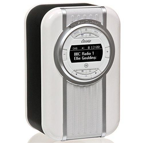 VQ Christie DAB/DAB+ Digital- und FM-Radio mit Bluetooth/NFC, Weckfunktion, drehbarem Display und Emaille-Blende - Schwarz Docking Digital Music System