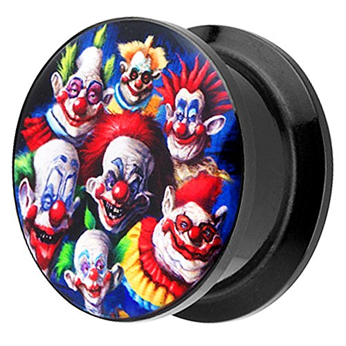 iercing Kunststoff Motiv Comic Picture Flesh Tunnel Ohrplug mit Crazy Horror Clown Halloween Schwarz Bunt 22mm ()