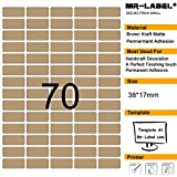 Mr-Label® 70pcs en blanco Kraft etiquetas engomadas adhesivas -Self para la decoración de regalos | Manos artesanas | Finishing Touch (Tamaño: 38*17mm) (25 sheets/1750 labels)