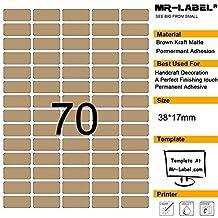 Mr-label® 70 Blank Kraft etichette-Self Adesivi per decorazione natalizia da regalo, finitura a mano, dimensioni: (1750 Etichette)