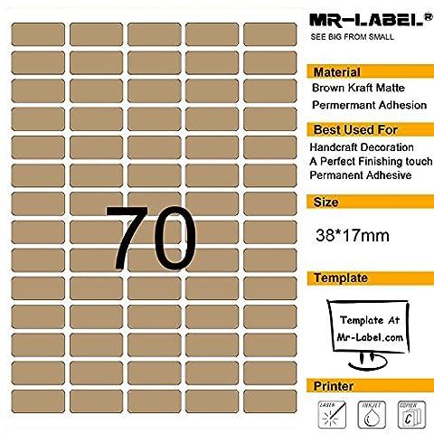 Mr-Label® 70 Pcs Blank Kraft Labels -Self Adhesive Stickers pour la décoration cadeau | main artisanale | Finishing Touch (Taille: 38 * 17mm) (25 feuilles / 1750 étiquettes)