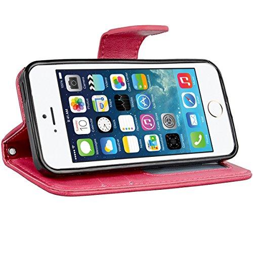 We Love Case pour Apple iPhone 6S iPhone 6 Etui Housse Coque PU Cuir Portefeuille Étui Shell Bumper Couverture avec Fonction Stand Fermeture Aimantée à rabat Coque de Téléphone Hull Flip Back Cover Co Rouge