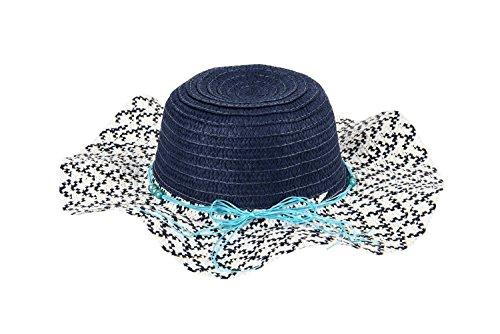 Perle di vetro rotondo grande cappello onda cappello a tesa bambino cappello couture visiera ( colore : Profondo blu )