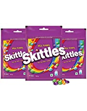 Skittles Bite-Size Fruit Candies Pouch, Wild Berry Pouch, 204 g with Skittles Pouch, Pack of 3
