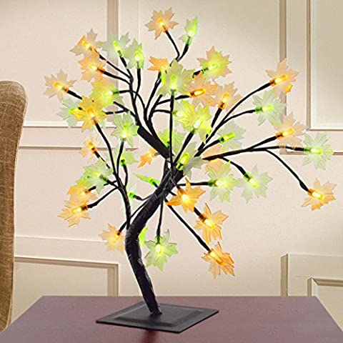 Decorative Autumnal Maple Leaf Bonsai Style Tree Table Lamp Light With 48 LEDs - Autumn Lamp Green Orange Yellow