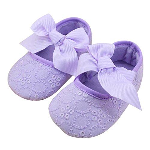 Ouneed® Krabbelschuhe , Mädchen Baumwoll Bandbowknot weiche Unterseite Blume Prewalker Lila