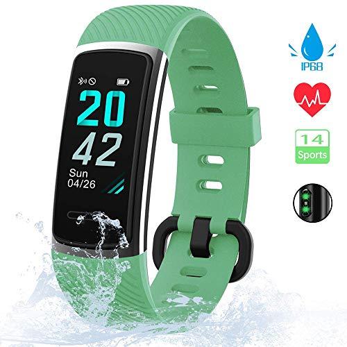 【Neuestes Modell】 Fitness Armband, KUNGIX Schrittzähler Uhr IP68 Wasserdicht Smartwatch Fitness Tracker mit Pulsmesser Smart Watch für Damen Herren Kinder iOS Android Kompatibel