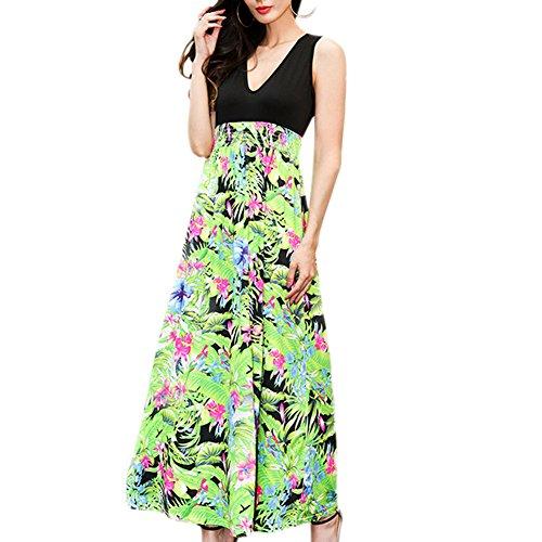 Meijunter Kleid Ärmellos V-Ausschnitt Kleider Damen Elegant Stitching Hohe Taille Blumen Drucken Langer Rock Grün
