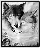 Blanco y Negro Lobo manta de peluche manta de viaje 50'x 60(tamaño mediano)