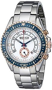 So y Co Club de Nueva York para hombre de yates reloj infantil de cuarzo con esfera analógica blanca y plateado correa de acero inoxidable de 5015,2 de SO & CO New York