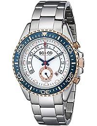 So y Co Club de Nueva York para hombre de yates reloj infantil de cuarzo con esfera analógica blanca y plateado correa de acero inoxidable de 5015,2