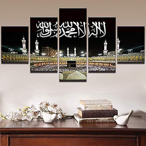 OHHCO Leinwanddrucke Wandkunst Bilder Home Decor Moderne Hd Druckt 5 Panel Islamische Moschee Schloss Malerei Allah Der Koran Leinwand Poster Kein Rahmen