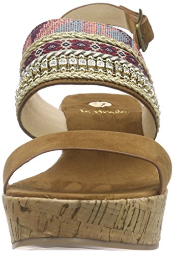 La Strada Tan Suede Look Sandal With Cork Wedge, Sandales à plateforme femme Marron - Braun (2214 - micro tan)