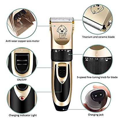 Dog Clippers, Professional Electric Cat Dog Grooming Clippers Kit with 4 Comb/Scissors/Nail File/Claw/Hair Clippers… 5