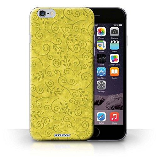 Kobalt® Imprimé Etui / Coque pour iPhone 6+/Plus 5.5 / Turquoise conception / Série Motif Feuille Remous Jaune