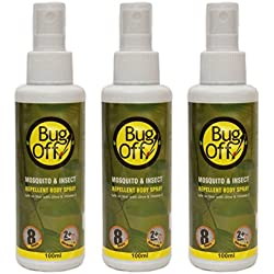 Bug Off Mosquito & Insect Repellent Body Spray with Olive Oil & Vitamin E(quantity-100 ml)(3 X 100ml)