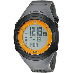 Soleus GPS Fly Laufuhr Pulso Reloj Reloj Deportivo con Auto de Lap Compatible con Strava, 0.068 kilograms, Color Gris/Naranja