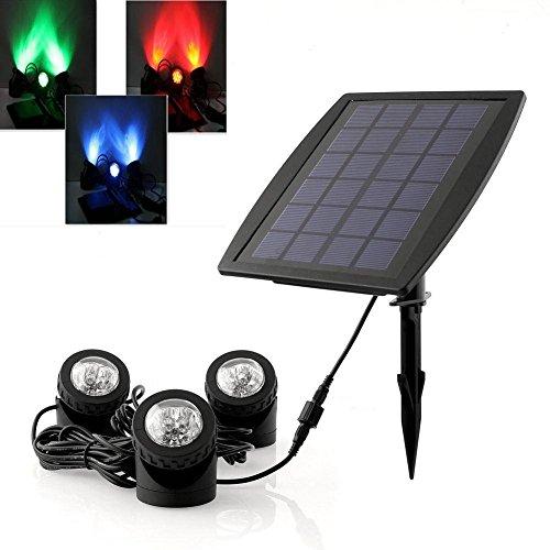 DECKEY 18LEDs 3x RGB Unterwasserleuchte Solarleuchte Solarlampe Teichleuchte Garten IP68 Wasserdicht