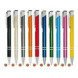 WPRO Kugelschreiber-Set Cosima 10-Stück aus Metall Großraum-Mine blau ergonomischer Griff bunte 10er Packung Farbenmix bunt: Schwarz, Champagner, Grafit, Orange, Rot, dunkelblau, Grün, Türkis, pink, gelb