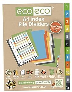 posicionamiento web 99: Conjuntos de 4x 12pk eco-eco A450% reciclado carpeta de archivos de índice sep...