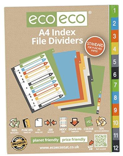 Conjuntos de 4x 12pk eco-eco A450% reciclado carpeta de archivos de índice separadores de plástico