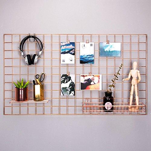 Rumcent Rose Gold Foto Aufhängen Raster Anzeigen Foto Wand Kunstwerk Prints Wand Rahmen Dekoration Grid Panel für Zimmer und Büro/Größe 96x 53,8cm/Rose Gold/Kupfer - Dekoration Foto-print