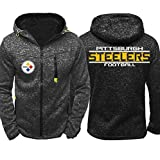 CCKWX NFL Hoodie -Pittsburgh Steelers High Neck Fußball Unisex Bequeme Trainingssportkleidung, Warme Fleece Langarm-Pullover