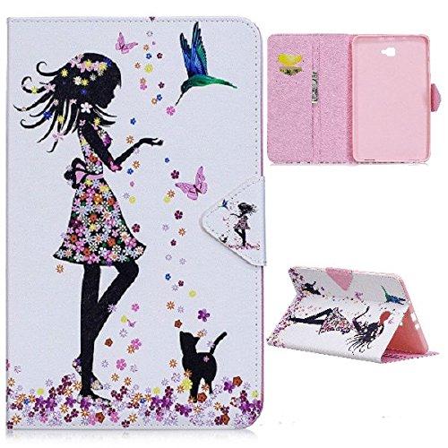 XITODA Samsung Galaxy Tab A6 10.1 Hülle,PU Leder Flip Case Bookcover Hülle für Samsung Galaxy Tab A 10,1 Zoll T580N / T585N Tablet (2016 Version) Schutzhülle Schale Etui(Schmetterlingsmädchen) A6-tablett