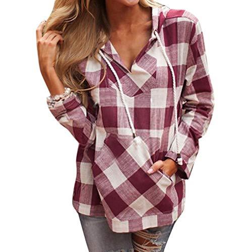 Gedruckt Jersey Tunika (SuperSU Mode Frauen Pullover T-Shirt Hoodie Langarm Bluse Top Oberteile Elegante Retro Hemd Asymmetrisch Top Mit Kapuze Gitter Lange Ärmel Sweatshirt Casual Langarmshirt Mit Jeans)