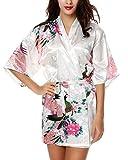 E-darter Paon Cardigan Robe de chambre - Satin Soyeux Peignoir Court Kimono Soie Femme (S, blanc)