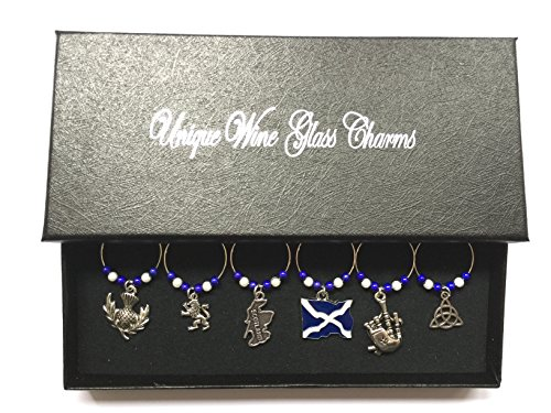 Scottish / Scotland Wine Glass Charms with Gift Box Handmade by Libby's Market Place by Libby's Market Place